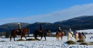 Winter Horseback riding at Spring Lake Ranch in 100 Mile House BC