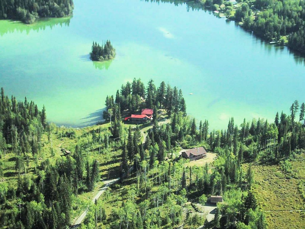 Aerial View of Ruth Lake Lodge & Cottages in Forest Grove BC