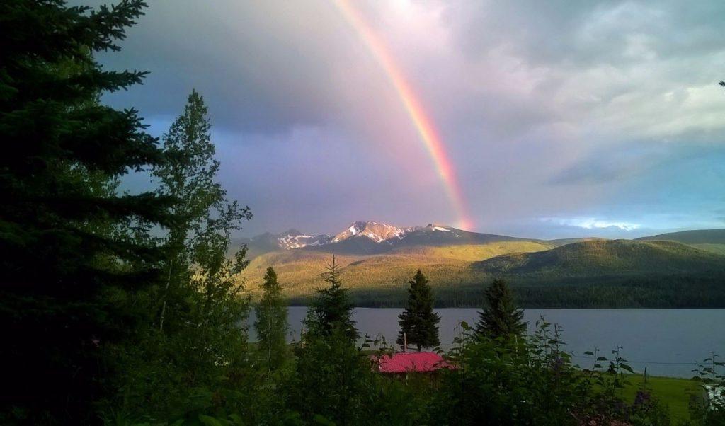 Rainbow over Crooked Lake Resort