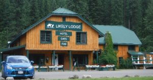 The front of Likely Lodge in Likely BC